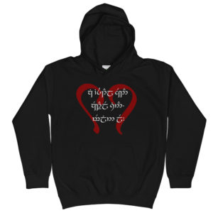 If you can read this, I love you. in Quenya and Tengwar on a Kids Hoodie
